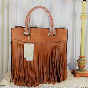 Isabelle NWT Vegan leather fringe handbag